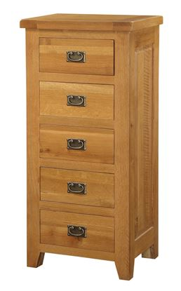 Picture of Acorn Solid Oak Chest 5 Drawer Narrow