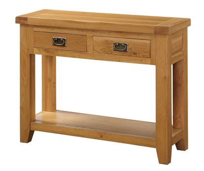Picture of Acorn Solid Oak Hall Table 2 Drawers