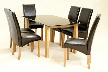 Picture of Adina Black Dining Set Large 6 Cyprus Chairs