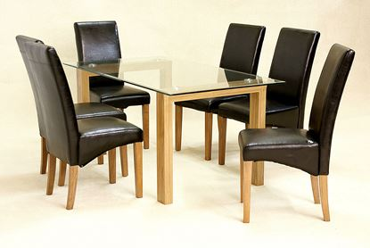 Picture of Adina Dining Set Large Oak 6 Cyprus Chairs