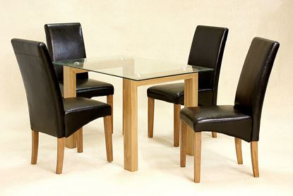 Picture of Adina Dining Set Small Oak 4 Cyprus Chairs