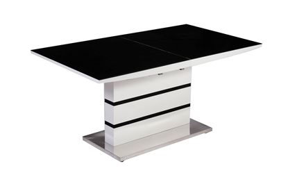 Picture of Aldridge High Gloss Dining Table White with Black Glass Top