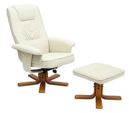 Picture of Althorpe Recliner with Footstool PU Brown