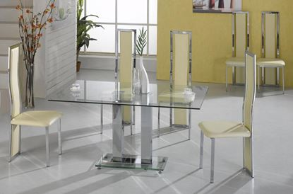 Picture of Ankara Large Dining Set Chrome 6 Trinity Chairs