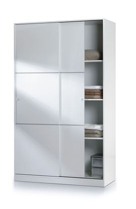Picture of Arctic Sliding Wardrobe 4 Foot with Shelves High Shine White