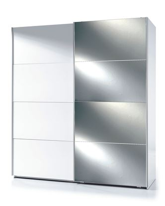 Picture of Arctic Sliding Wardrobe 6 Foot Half Mirrored High Shine White