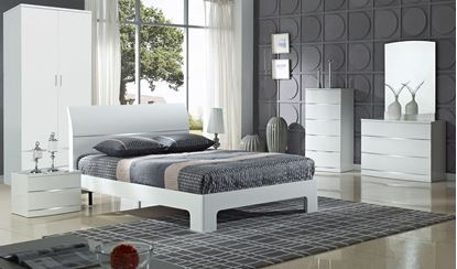 Picture of Arden White High Gloss Bed King Size