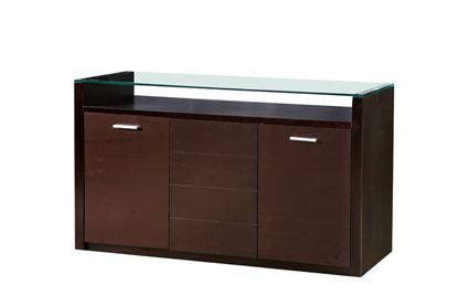 Picture of Baltic Glass Top Sideboard with 3 Doors Dark Walnut