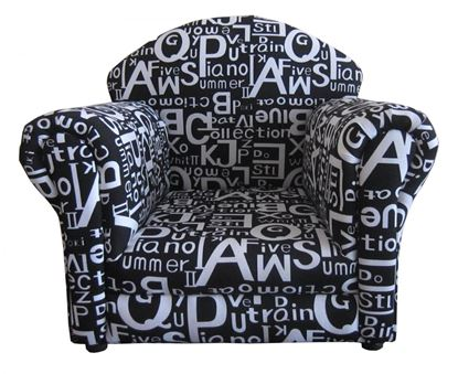 Picture of Brady Kids Sofa Fabric Black with White Letters