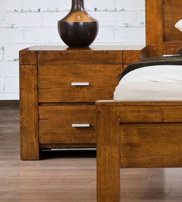 Picture of California Nightstand Solid Rubberwood Rustic Oak