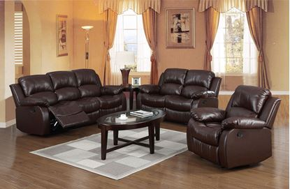 Picture of Carlino Recliner Full Bonded Leather 3 Seater Brown