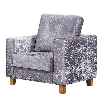 Picture of Chesterfield 1 Seater Sofa Crushed Velvet Silver