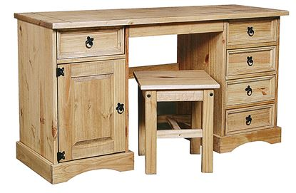 Picture of Corona Dressing Table Double 5 Draws& 1Door & Stool