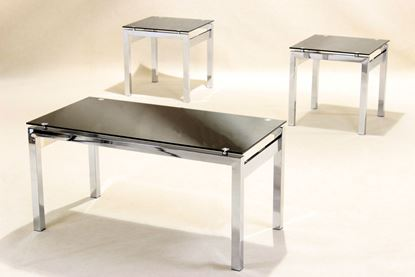 Picture of Eton Occasional Set Chrome/Black Glass JOA262