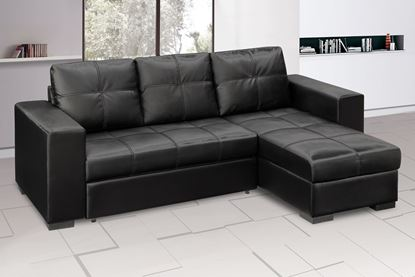 Picture of Gianni Storage Chaise Sofa Bed Bonded PU Black