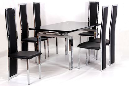 Picture of Highgrove Extending Dining Table Chrome & Black