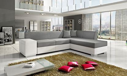 Picture of Kos Corner Sofa White PU & Grey Fabric