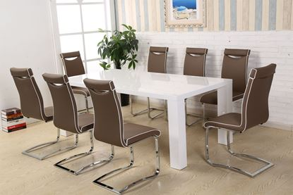 Picture of Melinda Dining Set White High Gloss with 8 Chairs
