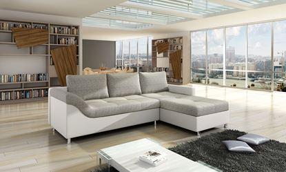 Picture of Orkan Corner Sofa White PU & Grey Fabric